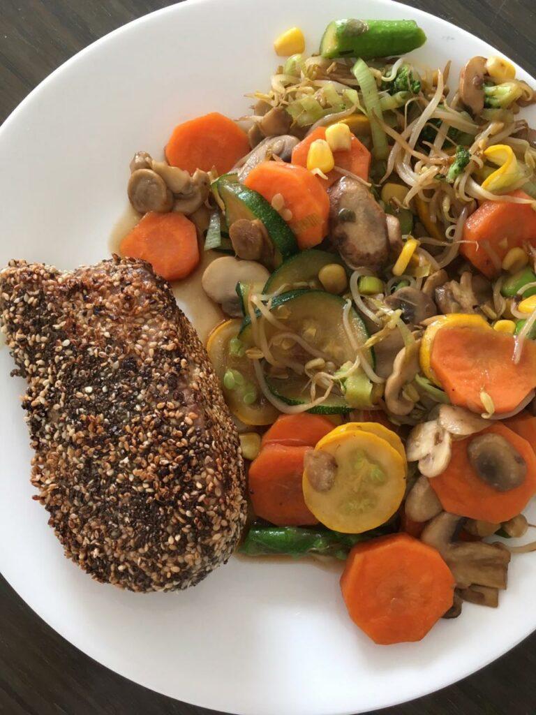 Almuerzo: verduras al wok y atun, Almuerzos rapidos saludables y faciles