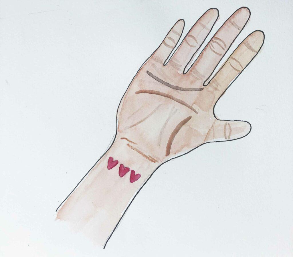 Ilustracion mano con un tatuaje en acuarela