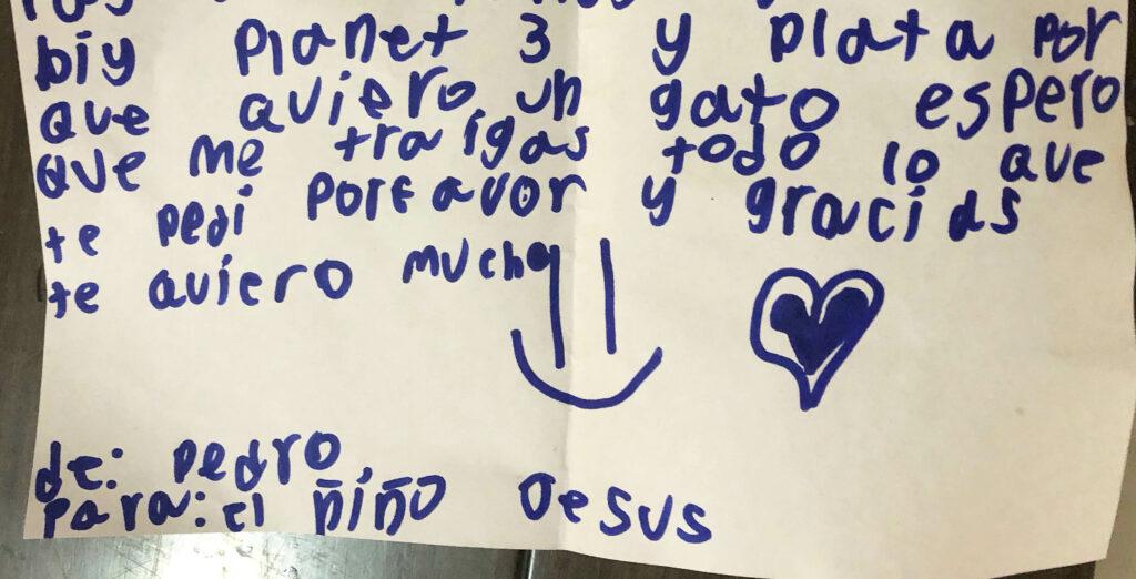 Pedro le escribe al nino Jesus que quiere un gato