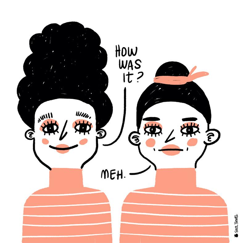 Ilustracion cartoon de dos mujeres by Sara Tomatte. Como se llega a vivir dibujando.