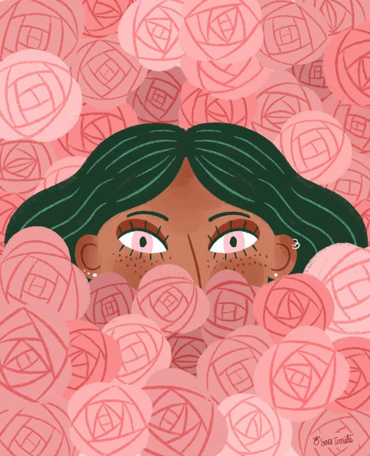 Ilustracion mujer con rosas by Sara Tomatte. Como se llega a vivir dibujando